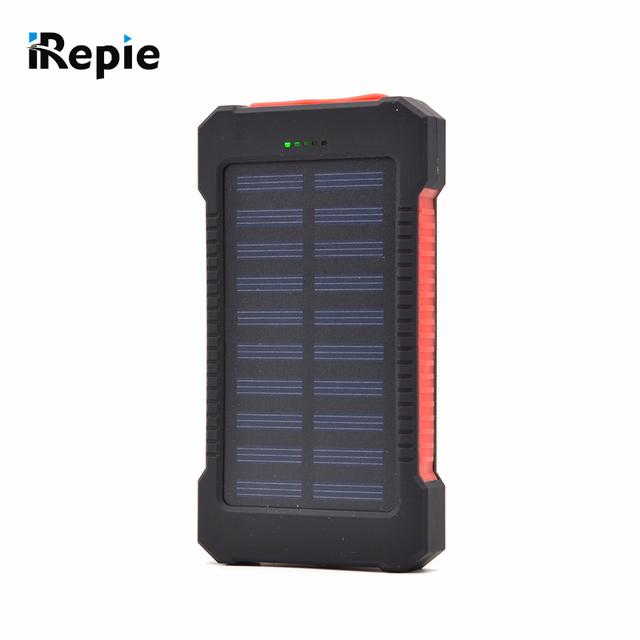 Universal 12000 mAh Banco de la Energía Solar Panel Solar LLEVÓ la Luz de Emergencia de Doble Puerto USB cargador Portátil de Batería Externa para el Teléfono Móvil