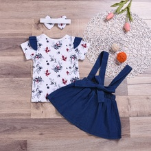 WEIXINBUY kid Casual Clothing Set 100% Cotton 3Pcs Baby Toddler Girls Kids Overalls Skirt +Headband+T-shirt Blouse Clothes Outfi