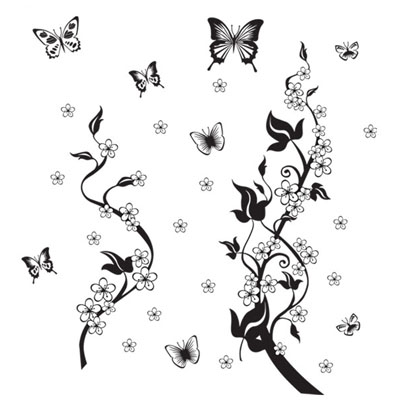 Fundecor sticker on the fridge black butterfly vine for Autocollant mural ikea