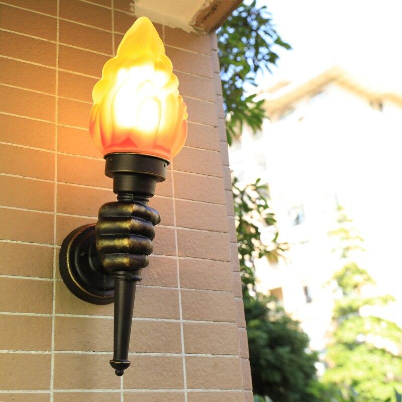 Torche mains appliques pour Loft décor industriel applique murale pour éclairage extérieur intérieur jardin Yards escaliers chevet applique murale