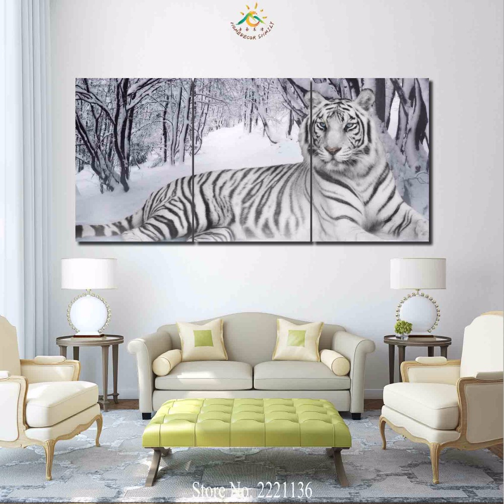 3 4 5 panels/set White Tiger Snow HD Printed Paint Home Decoration ...