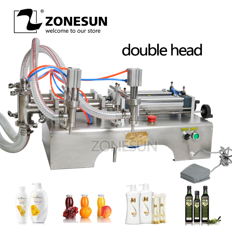 ZONESUN 50-500ml Horizontal Pneumatic DOUBLE HEAD Shampoo Liquid Soap Essential Oil Hand Sanitizer Alcohol Gel Filling Machine