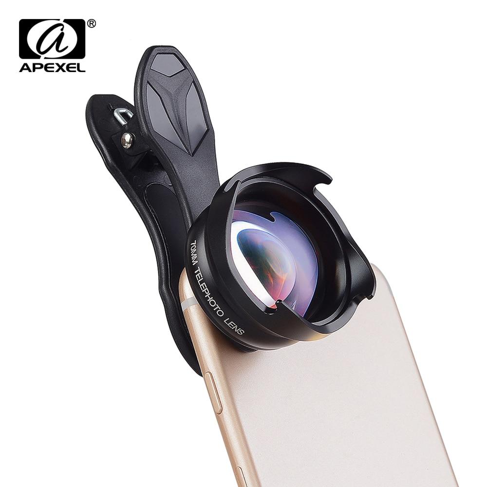 Цена за Apexel профессиональные телефон объектив 2.5X HD SLR телефон объектива телескопа боке портрет для iPhone 6 s/7 Xiaomi более Смартфон 70 мм