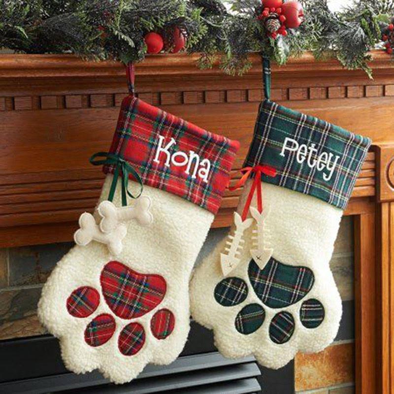 100pcs/lot free shipping Dog plaid Christmas stocking ...