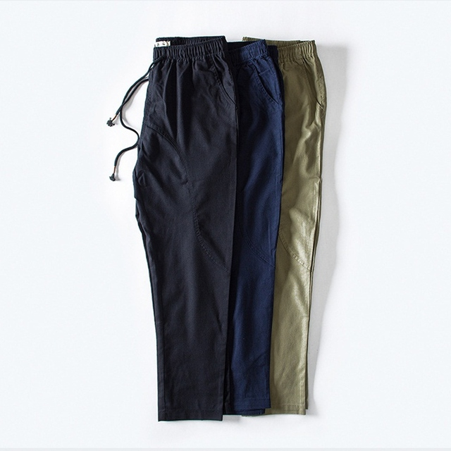 acec1aa3361 High Quality Men s Straight Ankle-length Pants Soft Cool Linen Loose Casual  Slack Trousers Joggers Elastic Waist Pant Streetwear