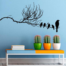Bird On Branch Wall Sticker Flock Of Birds Tree Decals Vinyl Home Animal Decor Interior Design Art Mural Housewares Bedroom 3595