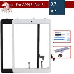 Nowy dla iPad powietrza 1 iPad 5 ekran dotykowy Digitizer z przyciskiem Home przedni szklany wyświetlacz panel dotykowy A1474 A1475 A1476 w celu uzyskania w Ekrany LCD i panele do tabletów od Komputer i biuro na