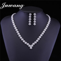 JUWANG 2018 Brand Luxury Flower CZ Wedding Jewelry Sets for Woman Bride Crystal Necklace Drop Earrings Sets Bridesmaid Jewelry