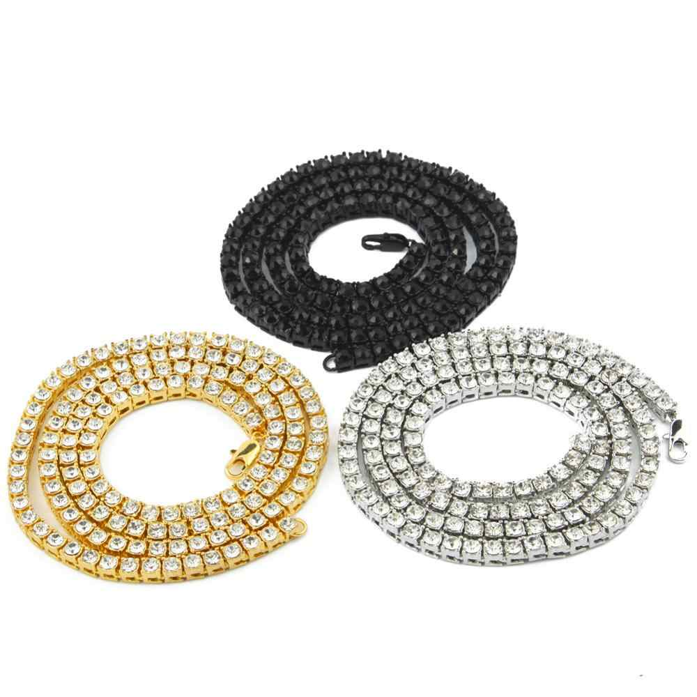 Hiphop Choker Bling Iced Out kryształ Rhinestone naszyjniki dla mężczyzn 5mm szerokość srebrny czarny złoty kolor 1 wiersz tenis naszyjnik łańcuszkowy