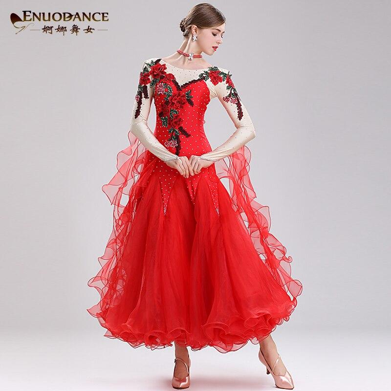 Robe moderne Standard nationale robe de bal néon danse jupes vêtements robes valse
