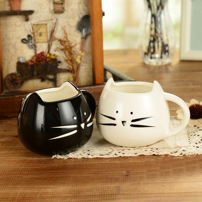 400мл Керамични керамични чаши, поставени черно и бели Сладък котешки дизайн за чаша за кафе kawaii Любители на котки Двойка чаши