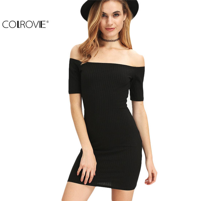 0319f78f6be COLROVIE Sexy Off The Shoulder Lace Up Back Bodycon Mini Dresses New  Arrival Women Fitness Black