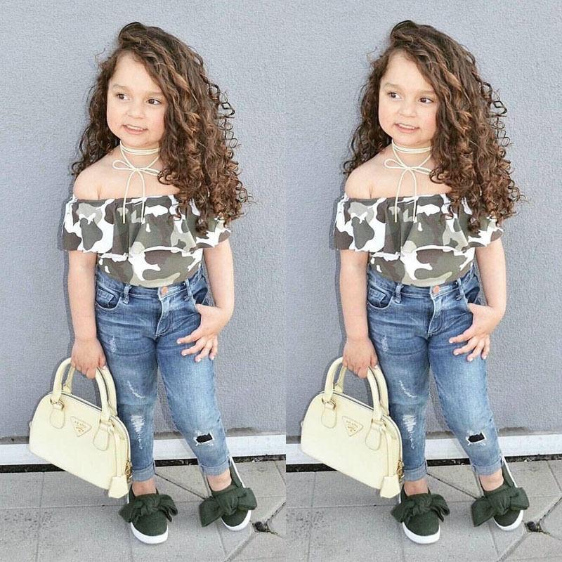 ecca47c90c08 2Pcs Camo Denim Children Set Clothes 2018 Fashion Kids Girls Short Tops  Jeans Pants Leggings Outfits