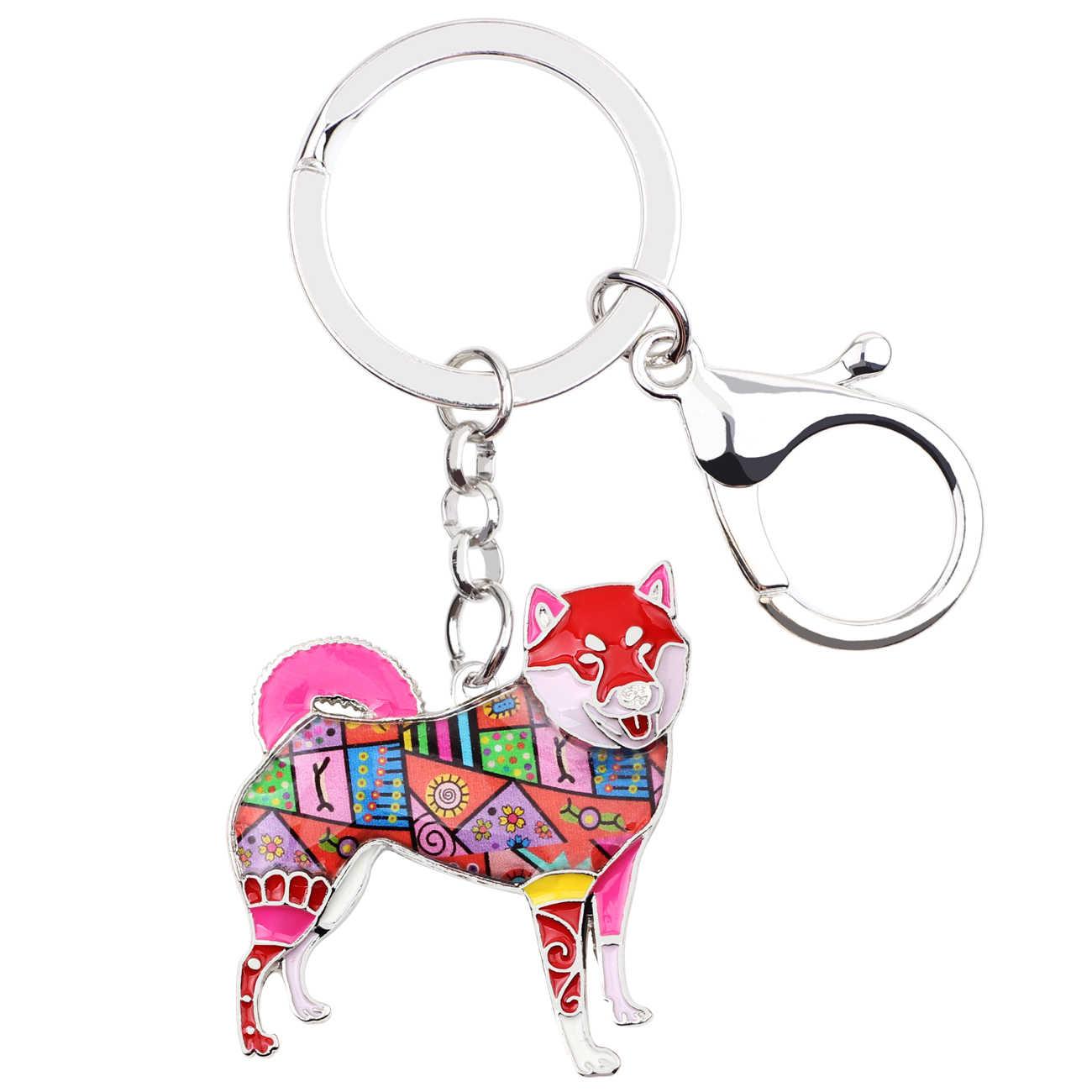 Bonsny Metal Shiba Inu Key Chain Key Ring Bag Charm Enamel Dog Keychain Accessories Souvenir Fashion Animal Jewelry For Women