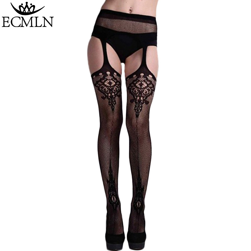 2017 ECMLN Hollow Out Tights Lace Sexy Stockings Female Thigh High Fishnet Embroidery Transparent Pantyhose Women Black Hosiery