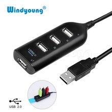 Портативный Новый 4 Порты и разъёмы USB 2,0 High Speed USB HUB портативных ПК тонкий маленький мини USB разветвитель адаптер для мобильного телефона портативных ПК