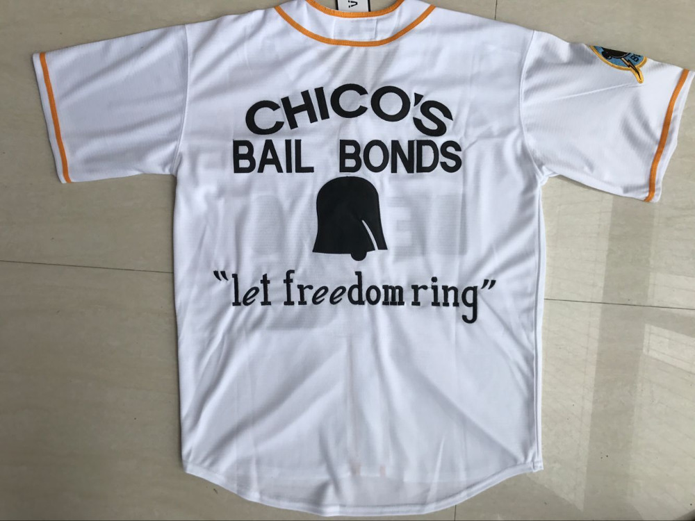 a8fad9969b9 ... aliexpress buy stitched bad news bears movie 1976 chicos bail bonds  white men baseball jersey 3