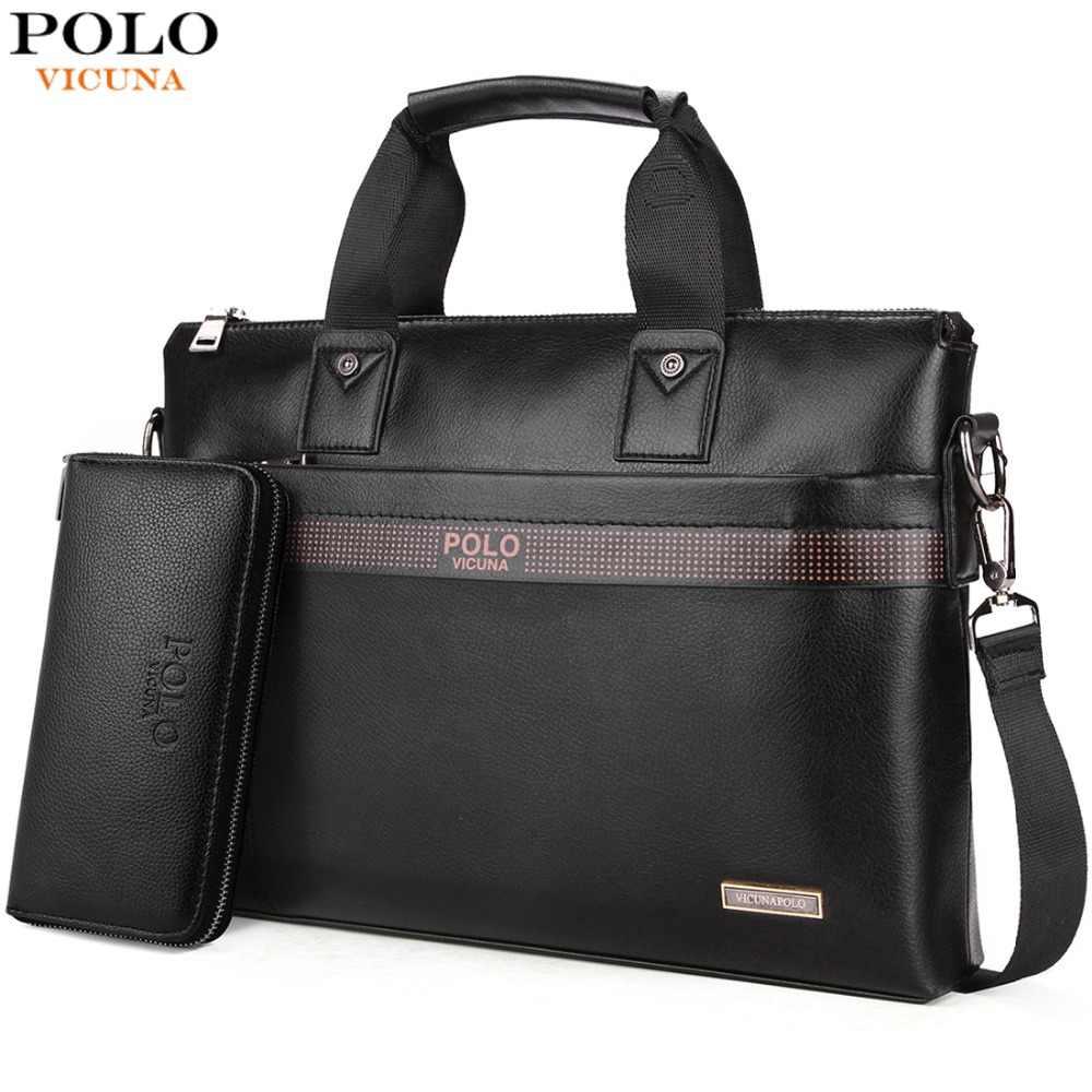 bf3486f0b528 VICUNA POLO, лидер продаж, модная простая мужская деловая сумка-портфель в  горошек от