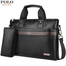 VICUNA POLO Top Sell Fashion Simple Dot Famous Brand Business Men Briefcase  Bag Leather Laptop Bag 2564e8e2acff8