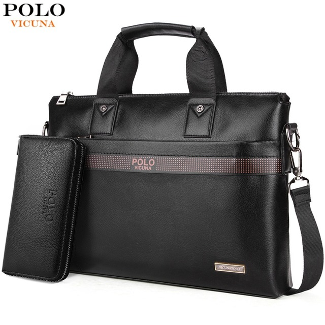 d4dcb5054efb VICUNA POLO Top Sell Fashion Simple Dot Famous Brand Business Men Briefcase Bag  Leather Laptop Bag Casual Man Bag Shoulder bags