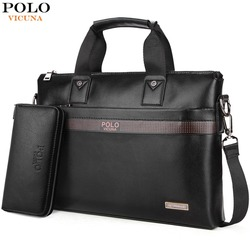 f8cf680eda VICUNA POLO Top Sell Fashion Simple Dot Famous Brand Business Men Briefcase  Bag Leather Laptop Bag