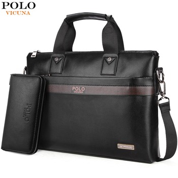 df5730d4b7 Best Price VICUNA POLO Top Sell Fashion Simple Dot Famous Brand Business Men  Briefcase Bag Leather Laptop Bag Casual Man Bag Shoulder bags