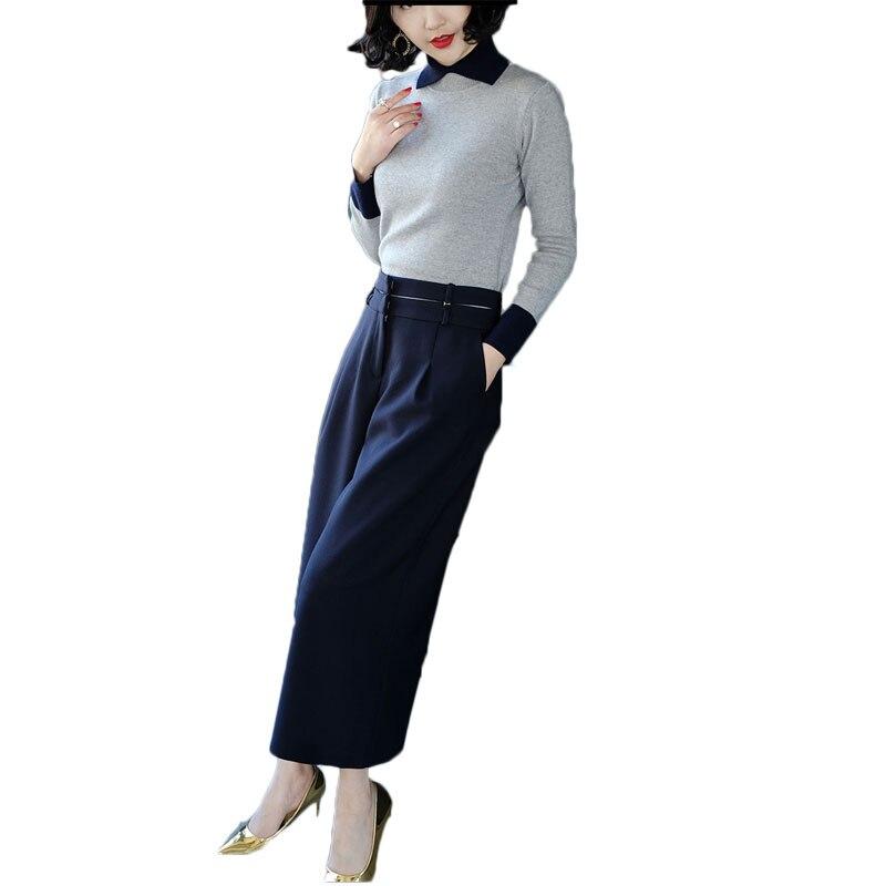 Tenue d'automne femmes nouveau pull à tricoter et pantalon à jambes larges costume mode européenne deux pièces ensemble de vêtements vestido lady OL