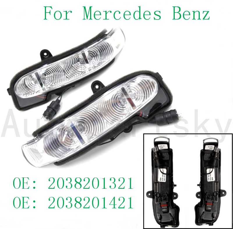 2038201321 2038201421 203-820-13-21, 203-820-14-21 LH RH Left & Righ Side Rearview Turn Signal Light Lighting For Mercedes-Benz