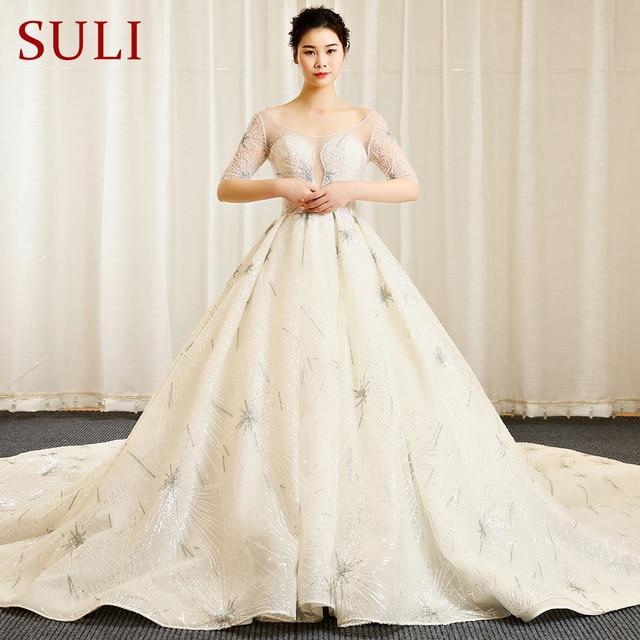 SL 154 Newest Bohemian Vintage Crystal Wedding Dresses Luxury Lace ...