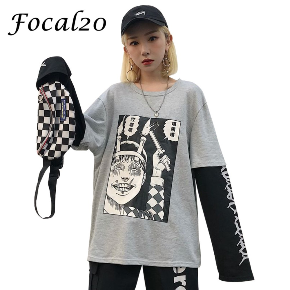Focal20 Streetwear Junji Ito Cartoon Print Women T-shirt Long Sleeve False Two Pieces T Shirt Causal Loose Spring Autumn Tee Top