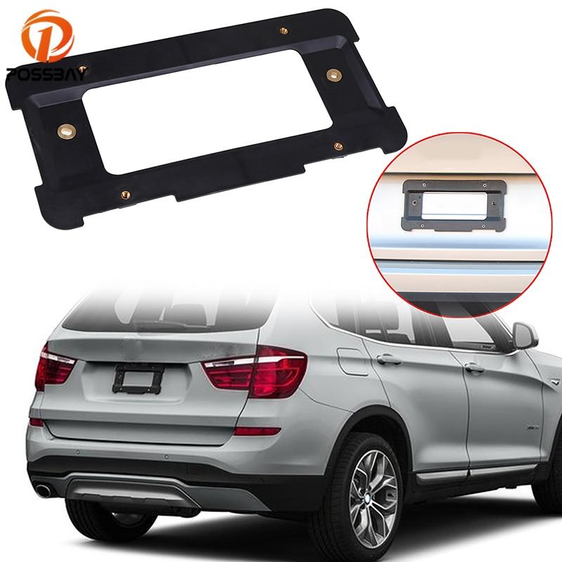 POSSBAY Black Plastic Car Rear License Plate Frame Tag