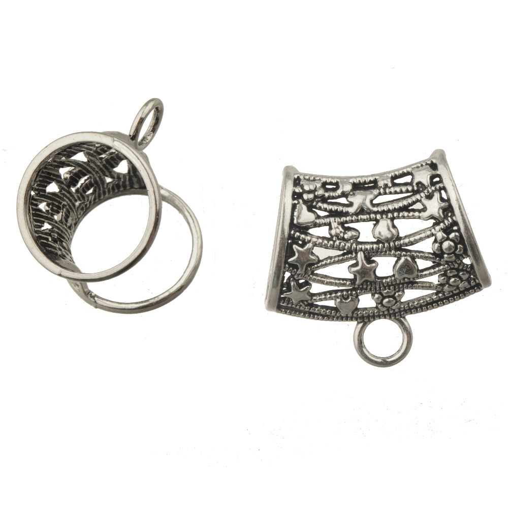 Scarf Clip Handcrafted Scarf Ring Jewellery Silvertone Leaf Pendant,FREE pouch