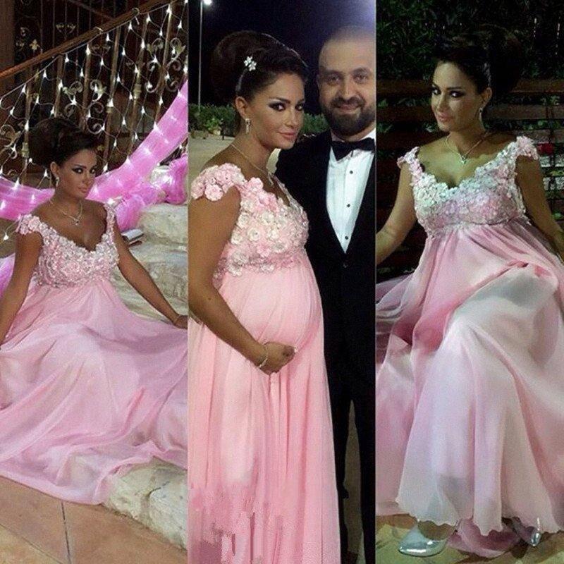 Baratos Rosa Cap Sleeve Top de Encaje de Maternidad Vestidos de ...