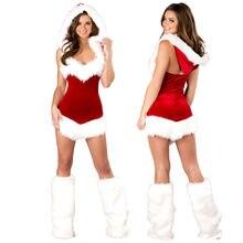 Новое рождественское женское сексуальное платье для вечерние, костюм, одежда для выступлений, взрослый костюм Санты, одежда для вечеринки, ...