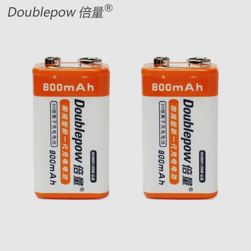 2pcs/set Doublepow 9V 800mAh Li-ion LSD Rechargeable Battery for For Radio/Camera/Toys etc