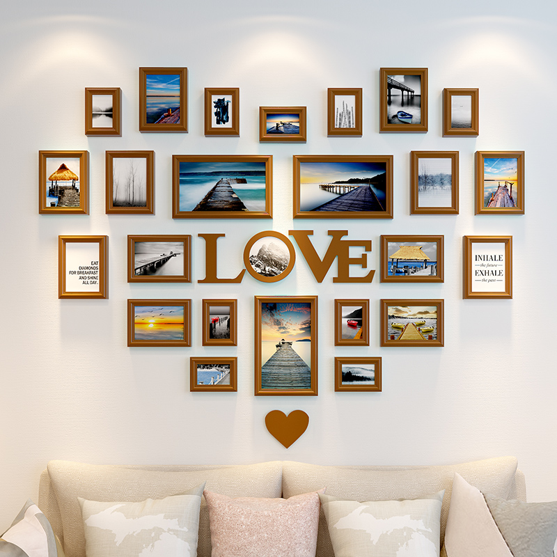 25 Pcs Heart Shape Photo Frame For Home Decor Wooden Frame