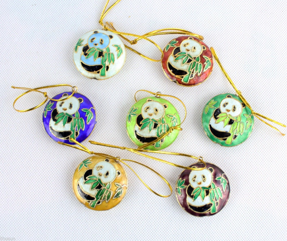 Ceramic christmas ornaments - Wholesale Collectibles10pcs Chinese Handmade Cloisonne Panada Christmas Ornaments Charms China Mainland