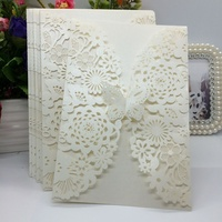 40 Pcs White Beige Pearlescent Paper Flower Carved Pattern Invitation Cards For Wedding Party Decoration