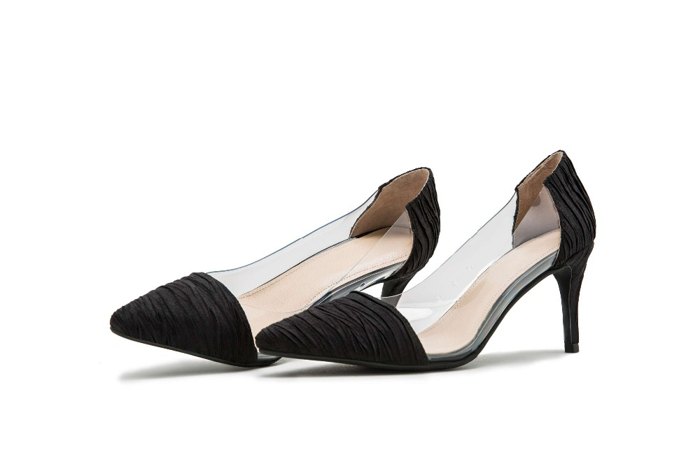Damenmode On Filmstar Slip SchwarzWei Heels Britische Art L04 Jelly Hollywood Partei Pvc Elegante Stiletto Spitze Tanzschuhe Schuhe v80Nmnw