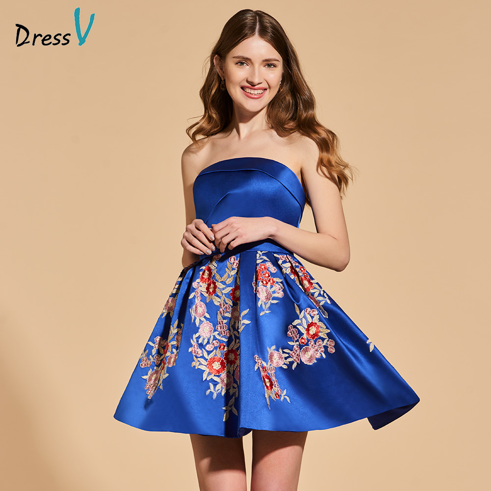 Dressv blue   cocktail     dress   elegant strapless short mini zipper up a line appliques wedding party formal   dress     cocktail     dresses