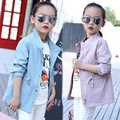 Children fall trench 2016 autumn and spring girls pure waist windbreaker outwear baby girls coat 9-10-12 years old kids clothes