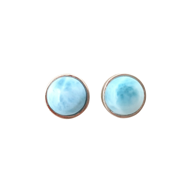 LiiJi Unique Natural Caribbean Blue Larimar Classic Real 925 Sterling Silver Stud Earring For Women For Women Gift