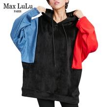 Max LuLu Luxury Korean Style Girls Denim Streetwear Women Velvet Hoodies Hooded Tracksuit Bts Moletom Woman Oversized Sweatshirt