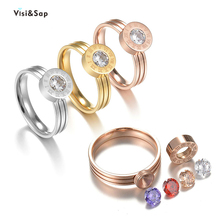 Visisap Roman Digital 4 Olor Zircon Exchange Rings for Women Size 5-11 Titanium Steel Gold Clor Wedding Ring Dropshipping S-R41 visisap titanium steel wide men ring size 7 14 dropshipping yellow black steel gold color rings for birthday gifts jewelry s r35