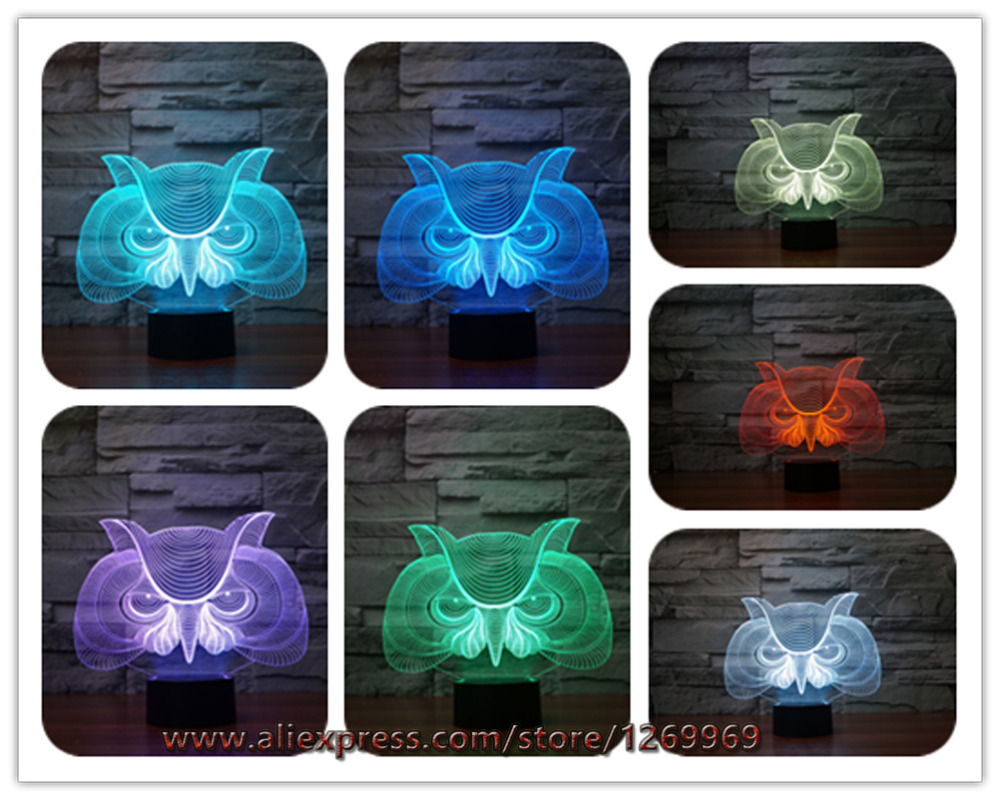 Night owl reading lamps - 3d Stylish Decor Creative Cartoon Night Owl Night Light Led Colorful Gradient Atmosphere Lamp Xmas Birthday