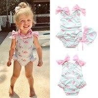 6f509a5c725bd1 Ins dziecko stroje kąpielowe dla dziewczyn z czapki piękny Bebe Flamingo  wzór niemowląt kostium plażowy One