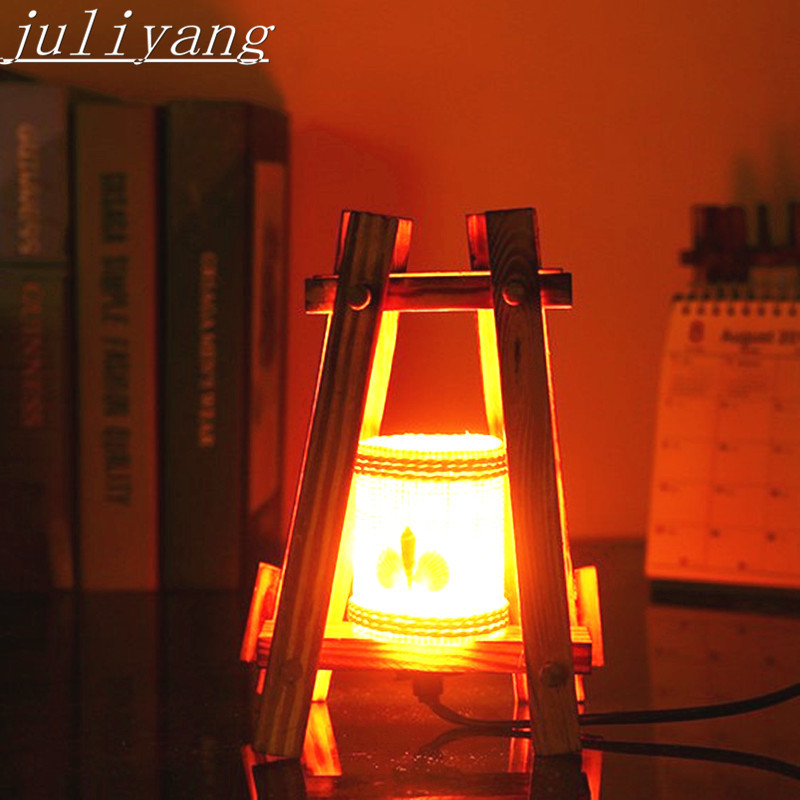 juliyang Handmade rural style retro nostalgic creative wooden table lamp bedroom lamp warm table lamp for home bar decoration tuda free shipping glass table lamp european retro style table lamp creative nostalgic table lamp for bedroom bedside desk lamp