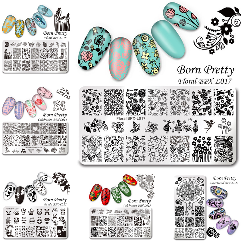Geometric Reverse Stamping Nail Art Born Pretty Review: 1 Pc BORN PRETTY Nail Art Stamp Template Stamping Plates