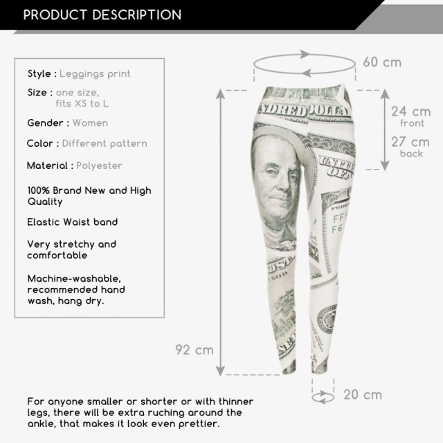 New Fashion Leggings Digital 3D dollar cash money Franklin Print Polyester Women Funny Leggings For Fashion Dress