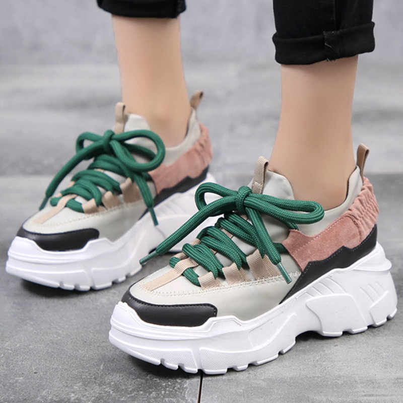 New Women's Sneakers Height Increase Woman Thick bottom Casual shoes Breathable Lace-up Lightweight Black Women Shoes ks138w